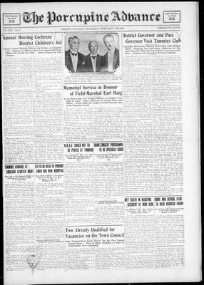 Porcupine Advance, 9 Feb 1928