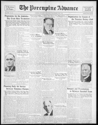 Porcupine Advance, 10 Nov 1932