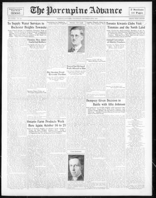 Porcupine Advance, 12 Oct 1933
