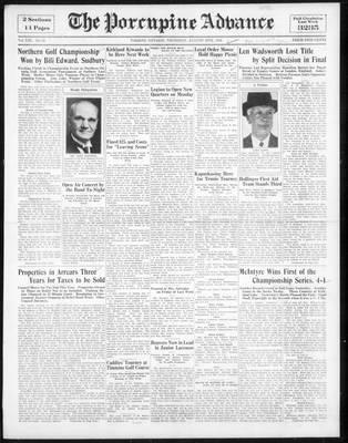 Porcupine Advance, 16 Aug 1934
