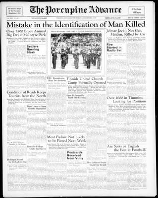 Porcupine Advance, 6 Aug 1936