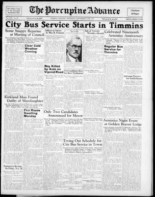 Porcupine Advance, 11 Nov 1937