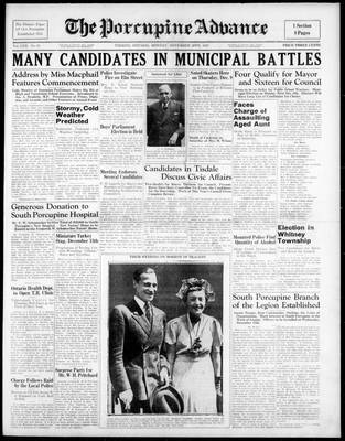 Porcupine Advance, 29 Nov 1937