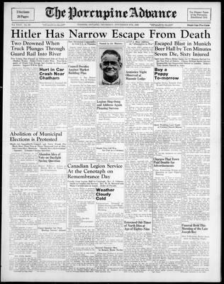 Porcupine Advance, 9 Nov 1939