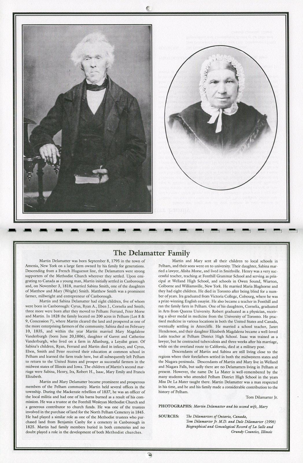 """Pelham Historical Calendar 2001: """"The Delamatter Family"""""""
