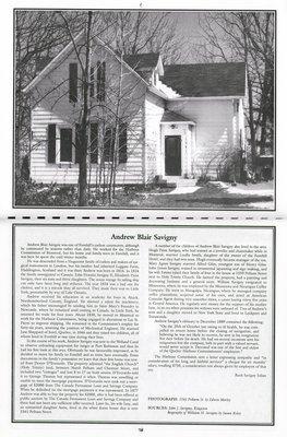 """Pelham Historical Calendar 2001: """"Andrew Blair Savigny"""""""
