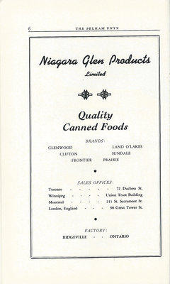 Pelham Pnyx Advertisements - Niagara Glen Products
