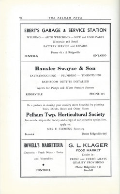 Pelham Pnyx Advertisements - Ebert's Garage & Service Station, Hansler Swayze & Son, Pelham Twp. Horticultural Society, Howell's Marketeria, and G. L. Klager Food Market