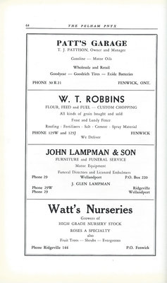 Pelham Pnyx Advertisements - Patt's Garage, W. T. Robbins, John Lampman & Son, and Watt's Nurseries