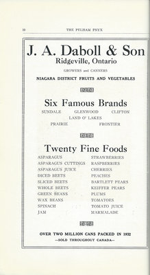 Pelham Pnyx Advertisements - J. A. Daboll & Son Niagara District Fruits and Vegetables