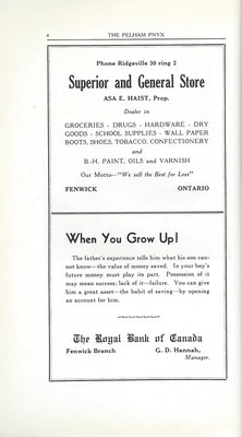 Pelham Pnyx Advertisements - Superior and General Store, and The Royal Bank of Canada