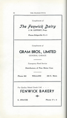 Pelham Pnyx Advertisements - The Fenwick Dairy, Gram Bros. Limited General Garage, and Fenwick Bakery