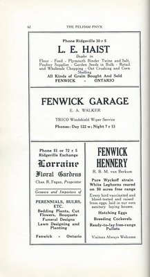 Pelham Pnyx Advertisements - L. E. Haist Farm Supplies, Fenwick Garage, Lorraine Floral Gardens, and Fenwick Hennery