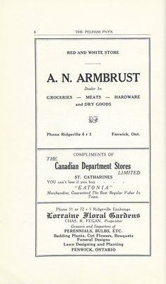 Pelham Pnyx Advertisements - A. N. Armbrust, The Canadian Department Stores, and Lorraine Floral Gardens
