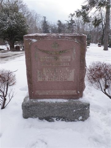 """St. Mary's Cemetery Monument for """"PRIVATES W. RAYBOULD, R. BOOCOCK, W. CONDOR, J. H. DICK""""."""