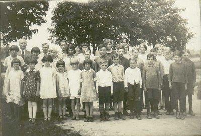 S.S.#10 Trafalgar Township, White School, Tenth Line and Britannia Roads, Teachers and Students.