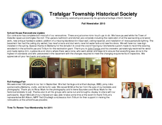 Trafalgar Township Historical Society Newsletter 2010 Fall