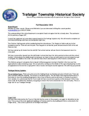 Trafalgar Township Historical Society Newsletter 2009  Fall