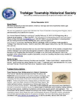 Trafalgar Township Historical Society Newsletter 2009 Winter #2
