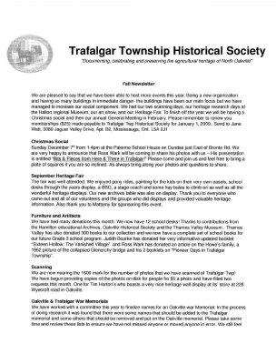 Trafalgar Township Historical Society Newsletter 2008 Fall