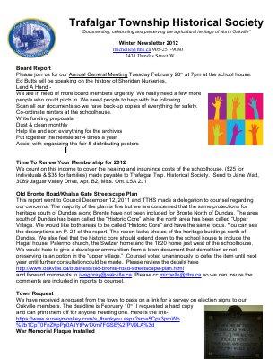 Trafalgar Township Historical Society Newsletter 2012 Winter