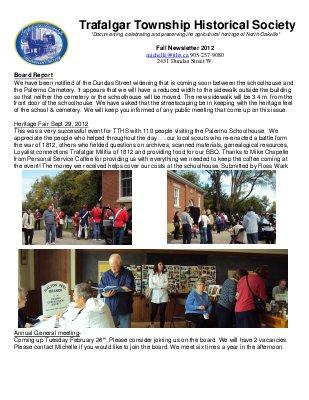 Trafalgar Township Historical Society Newsletter 2012 Fall