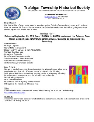 Trafalgar Township Historical Society Newsletter 2012 Summer