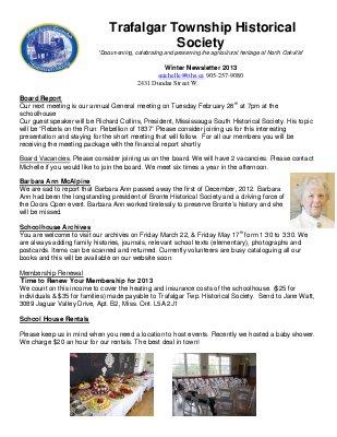 Trafalgar Township Historical Society Newsletter 2013 Winter