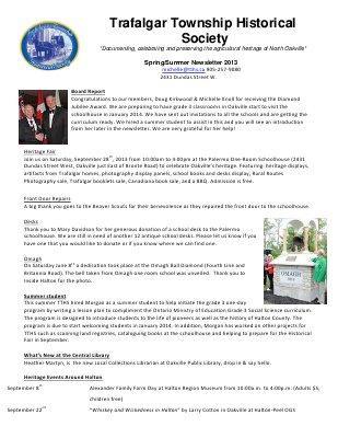 Trafalgar Township Historical Society Newsletter 2013 Spring/Summer