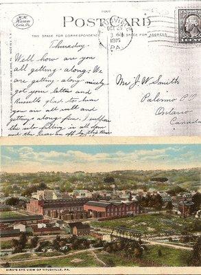 Postcard; Bird's Eye View of Titusville, PA