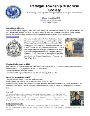Trafalgar Township Historical Society Newsletter 2014 Winter