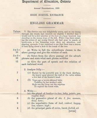 1930 High School Entrance Exam, English Grammar