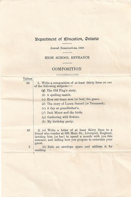 1930 High School Entrance Exam, Composition