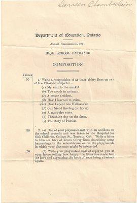 1931 High School Entrance Exam, Composition