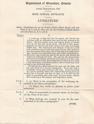 1930 High School Entrance Exam, Literature