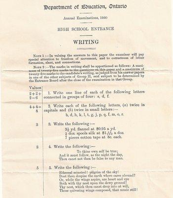 1930 High School Entrance Exam, Writing