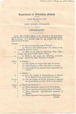 1931 High School Entrance Exam, Geography