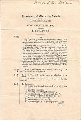 1931 High School Entrance Exam, Literature