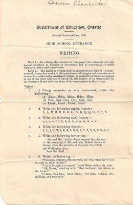 1931 High School Entrance Exam, Writing