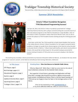 Trafalgar Township Historical Society Newsletter 2014 Summer