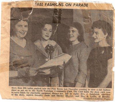 North Trafalgar Community Club, Fashion Show News Article, 1950s or 1960s