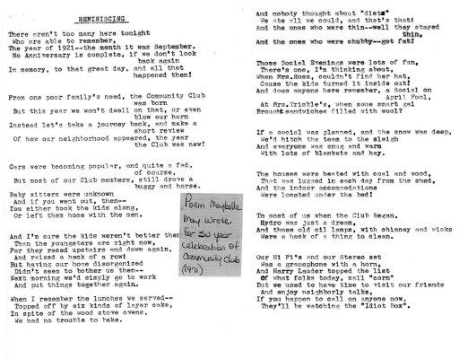 "North Trafalgar Community Club, ""Reminiscing"" by Maybelle May"