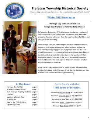 Trafalgar Township Historical Society Newsletter 2015  Winter
