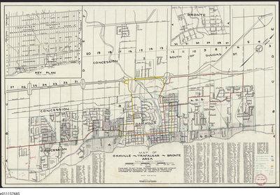 Map Of Oakville Ontario 1958 Map Oakville Trafalgar Bronte Area: Trafalgar Township
