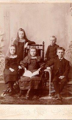 Cousins Wilbert and Clara Bigger, Annie, Dewart and Edith Fleming