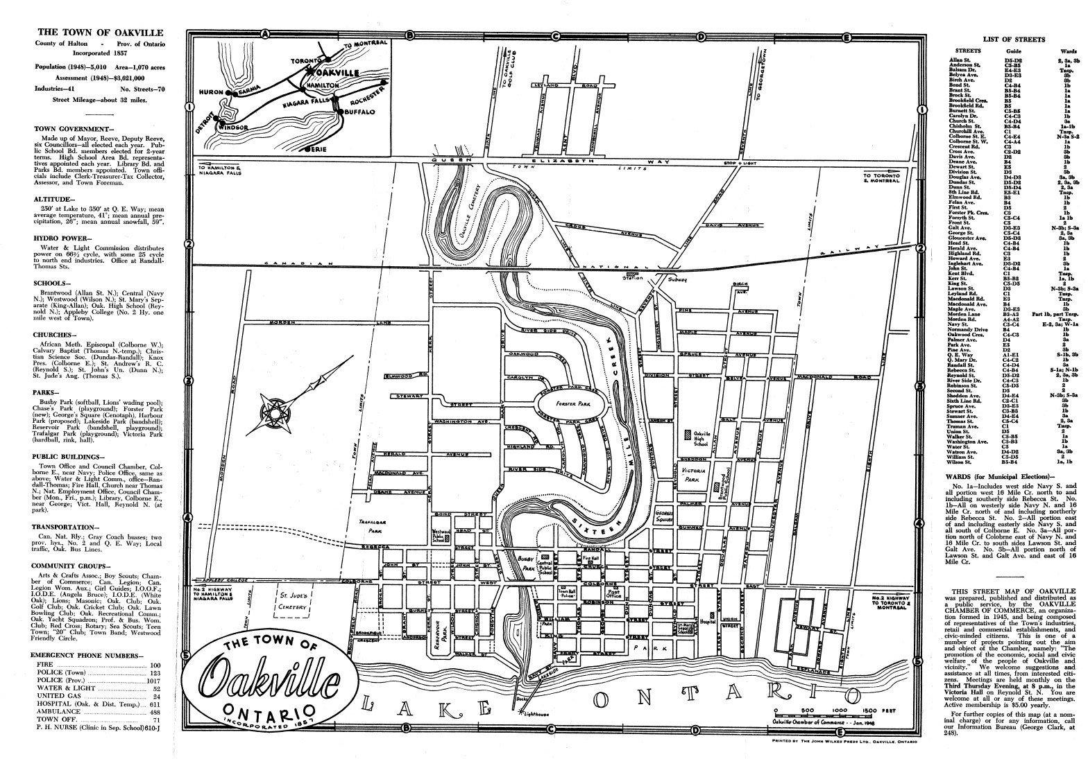 Oakville Town Map, 1948