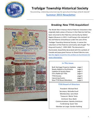 Trafalgar Township Historical Society Newsletter 2015 Summer