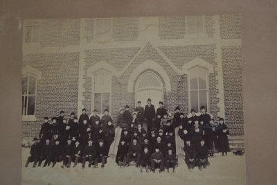 Teachers and Students in Front of Oakville Trafalgar High School in Winter