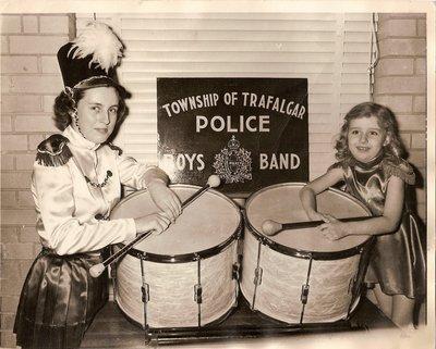 Majorette Corps, Township of Trafalgar Police Boys Band, around 1958