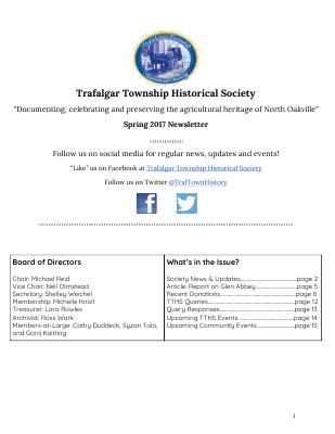 Trafalgar Township Historical Society Newsletter 2017 Spring